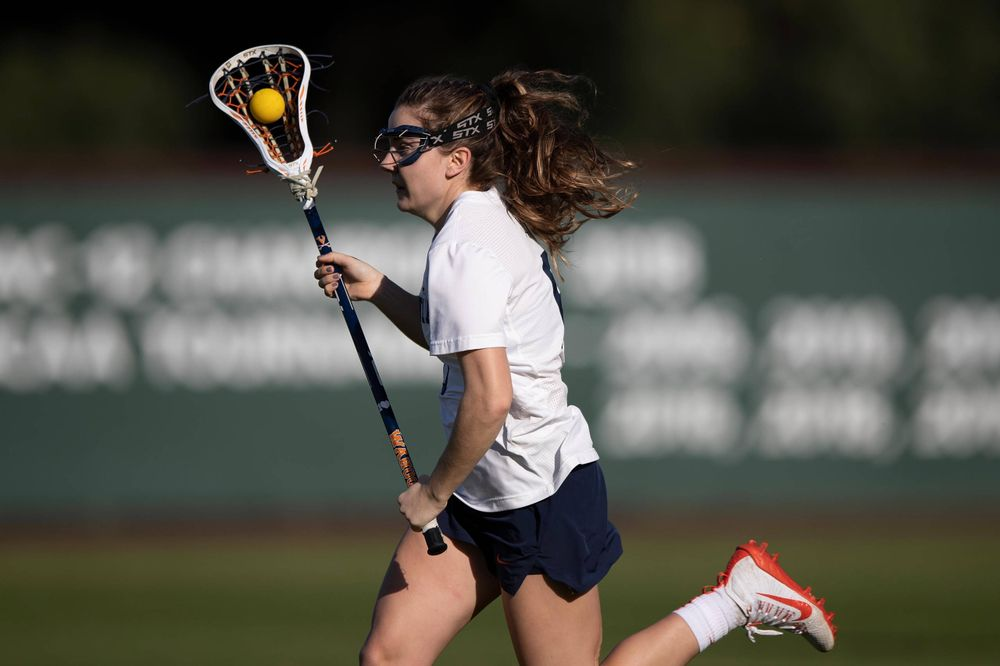 STANFORD, California - FEBRUARY 14:  Virginia Cavaliers midfield/defense Gwin Sinnott (6) during the first half against the Stanford Cardinal at Cagan Stadium on February 14, 2020 in Stanford, California. The Virginia Cavaliers defeated the Stanford Cardinal 12-11. (Photo by Jason O. Watson)