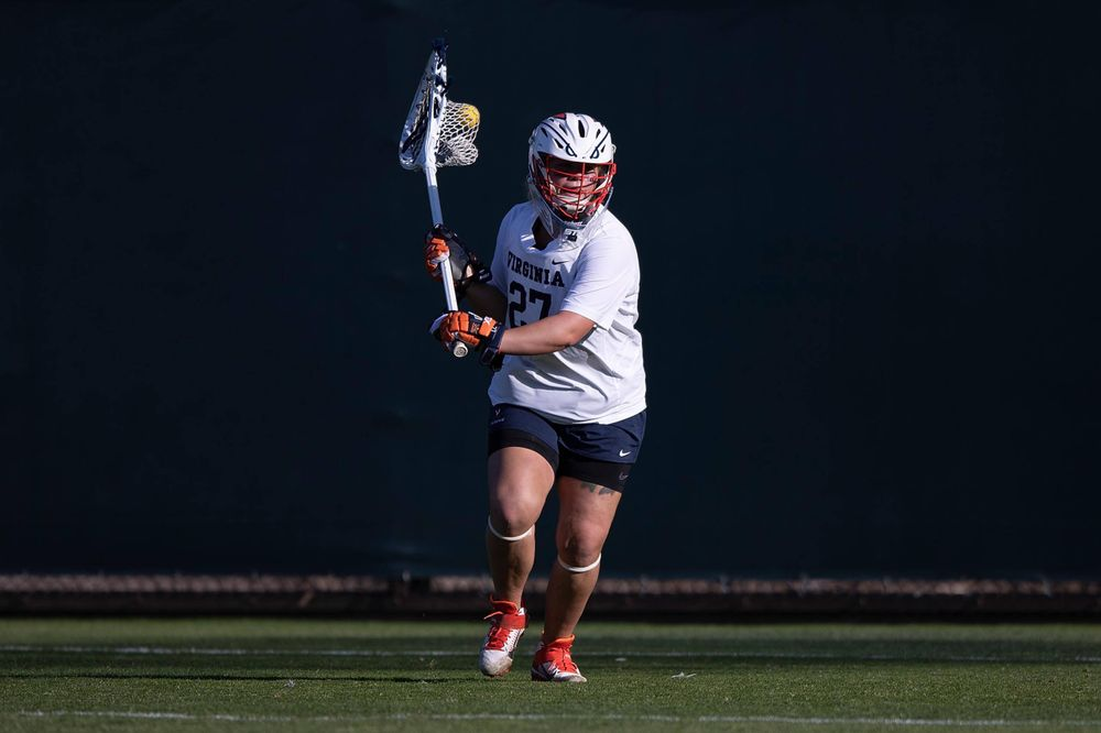 STANFORD, California - FEBRUARY 14:  Virginia Cavaliers goalkeeper Charlie Campbell (27) during the first half against the Stanford Cardinal at Cagan Stadium on February 14, 2020 in Stanford, California. The Virginia Cavaliers defeated the Stanford Cardinal 12-11. (Photo by Jason O. Watson)
