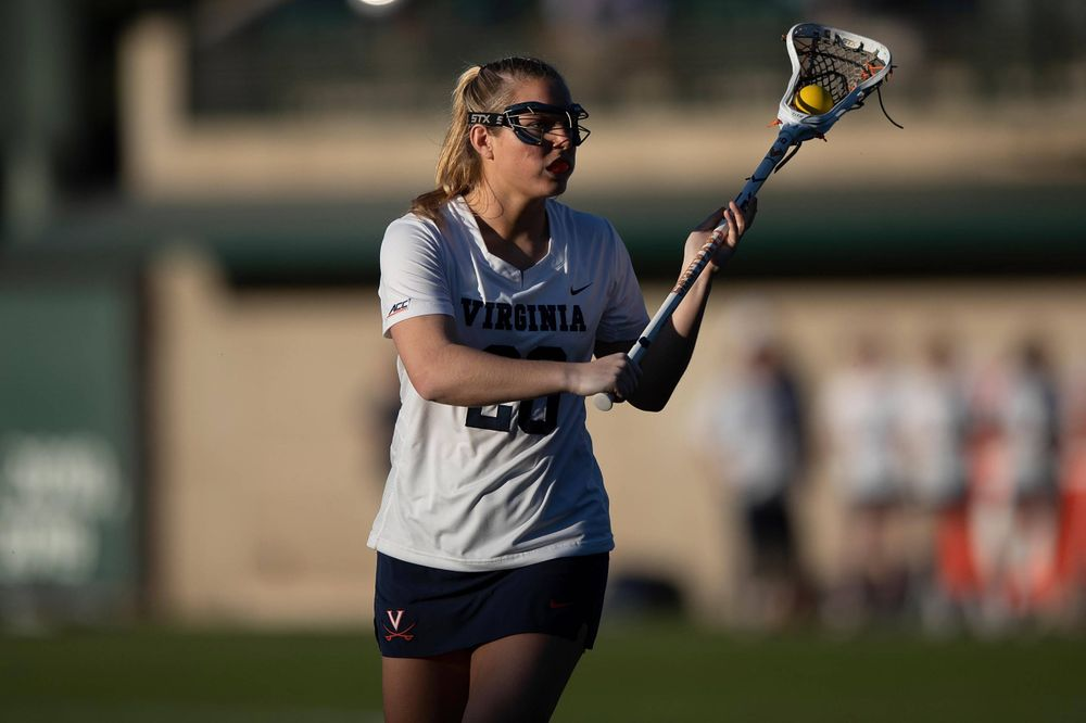 STANFORD, California - FEBRUARY 14:  Virginia Cavaliers midfield Nora Bowen (28) during the second half against the Stanford Cardinal at Cagan Stadium on February 14, 2020 in Stanford, California. The Virginia Cavaliers defeated the Stanford Cardinal 12-11. (Photo by Jason O. Watson)