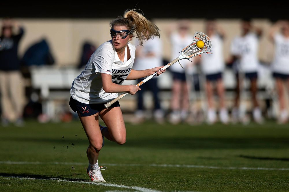 STANFORD, California - FEBRUARY 14:  Virginia Cavaliers midfield Courtlynne Caskin (25) during the first half against the Stanford Cardinal at Cagan Stadium on February 14, 2020 in Stanford, California. The Virginia Cavaliers defeated the Stanford Cardinal 12-11. (Photo by Jason O. Watson)